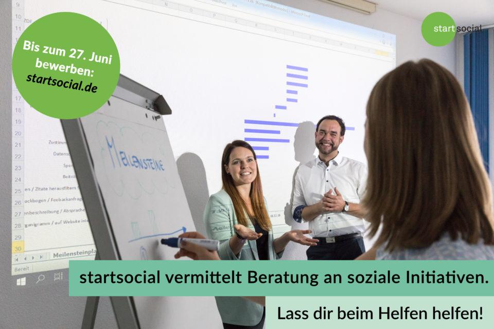 starsocial vermittelt Beratung an soziale Initiativen. Lass dir beim Helfen helfen! Es geht um 100 Stipendien. Bewerbung bis zum 27. Juni 2021 unter startsocial.de.